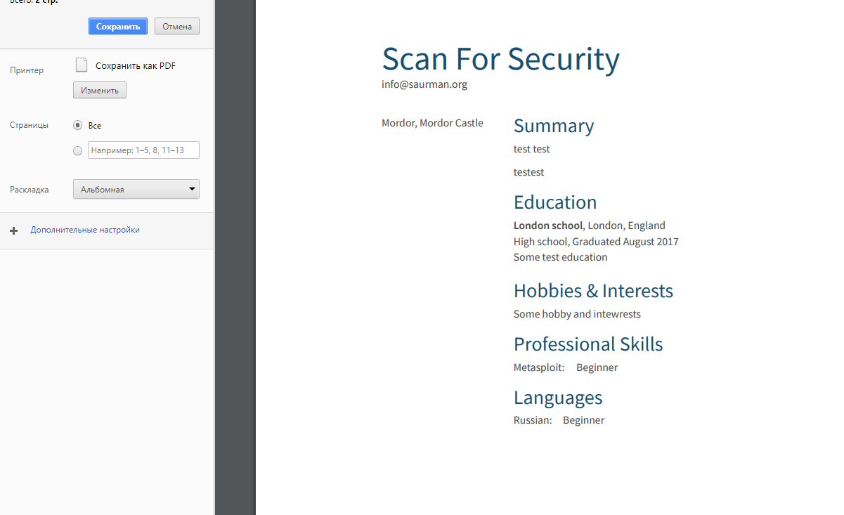 Resume com limitation problem: Print CV in PDF for free - Scan For