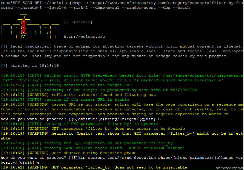 sqlmap test results